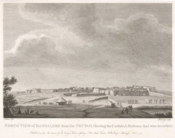 North view of Bangalore from the pettah, shewing the curtain and bastions that were breached.